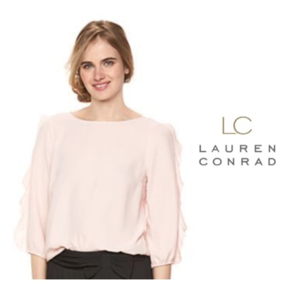 ee5d285fa96e94 NWT LC Lauren Conrad Sz XXL Pink Blouse Ruffle